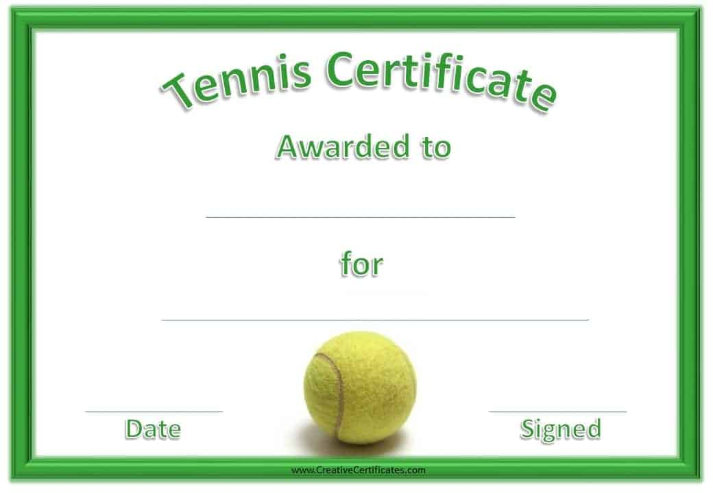 Free tennis certificate templates customizable printable green tennis certificate with a picture of a tennis ball yadclub Gallery