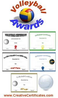 Volleyball Awards and Certificates