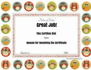 "Great job award with colored owls. The title ""great job"" and all other text can be changed."