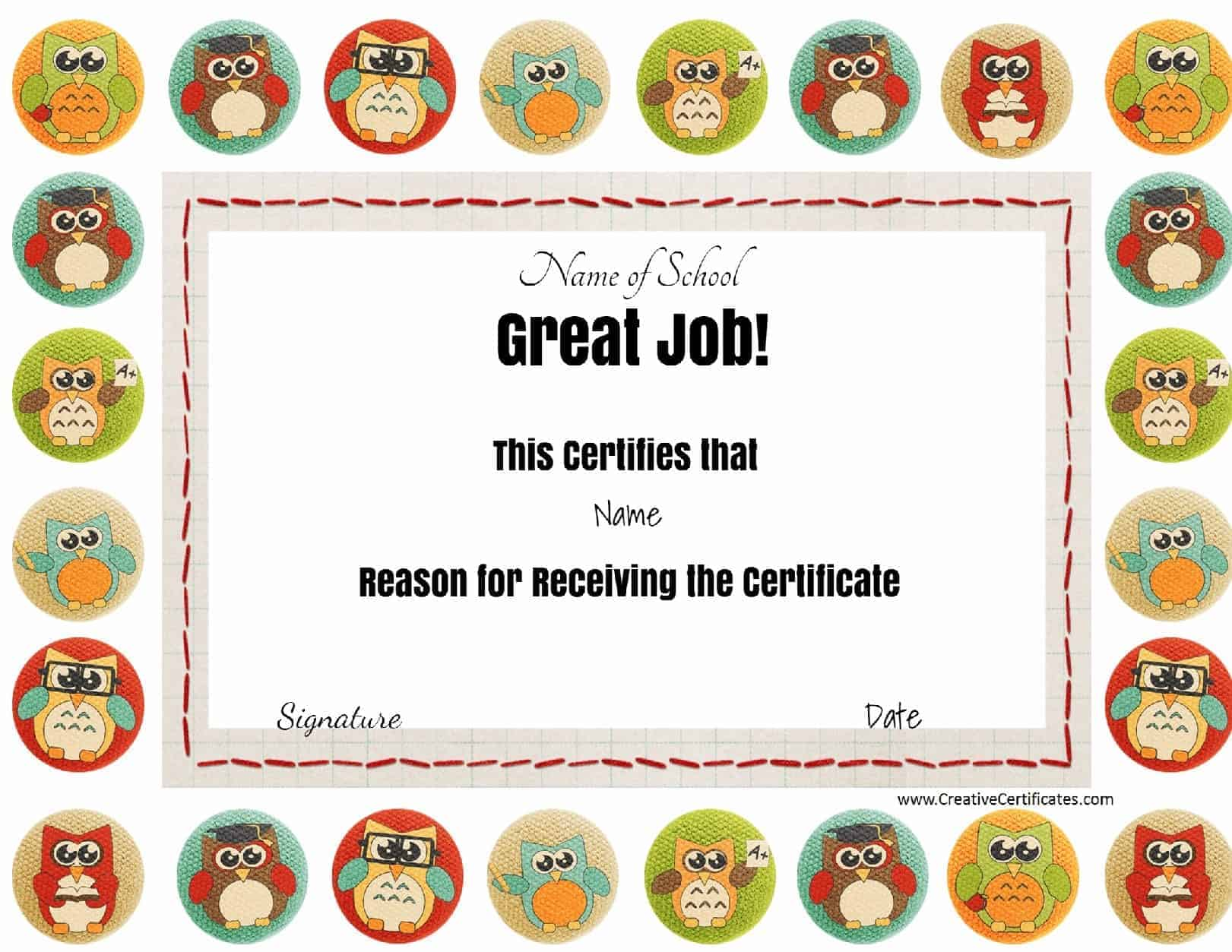 Free school certificates awards great job award with colored owls the title great job and all other 1betcityfo Images