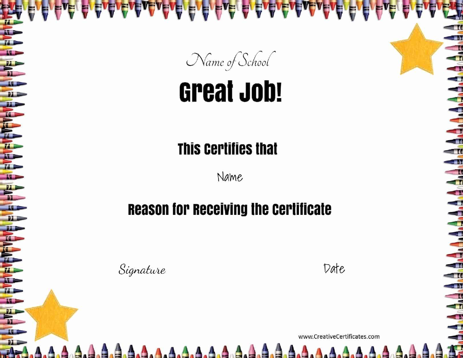 Free school certificates awards certificate template with crayon border yelopaper Gallery