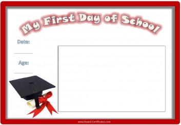 Certificate for 1st day of school