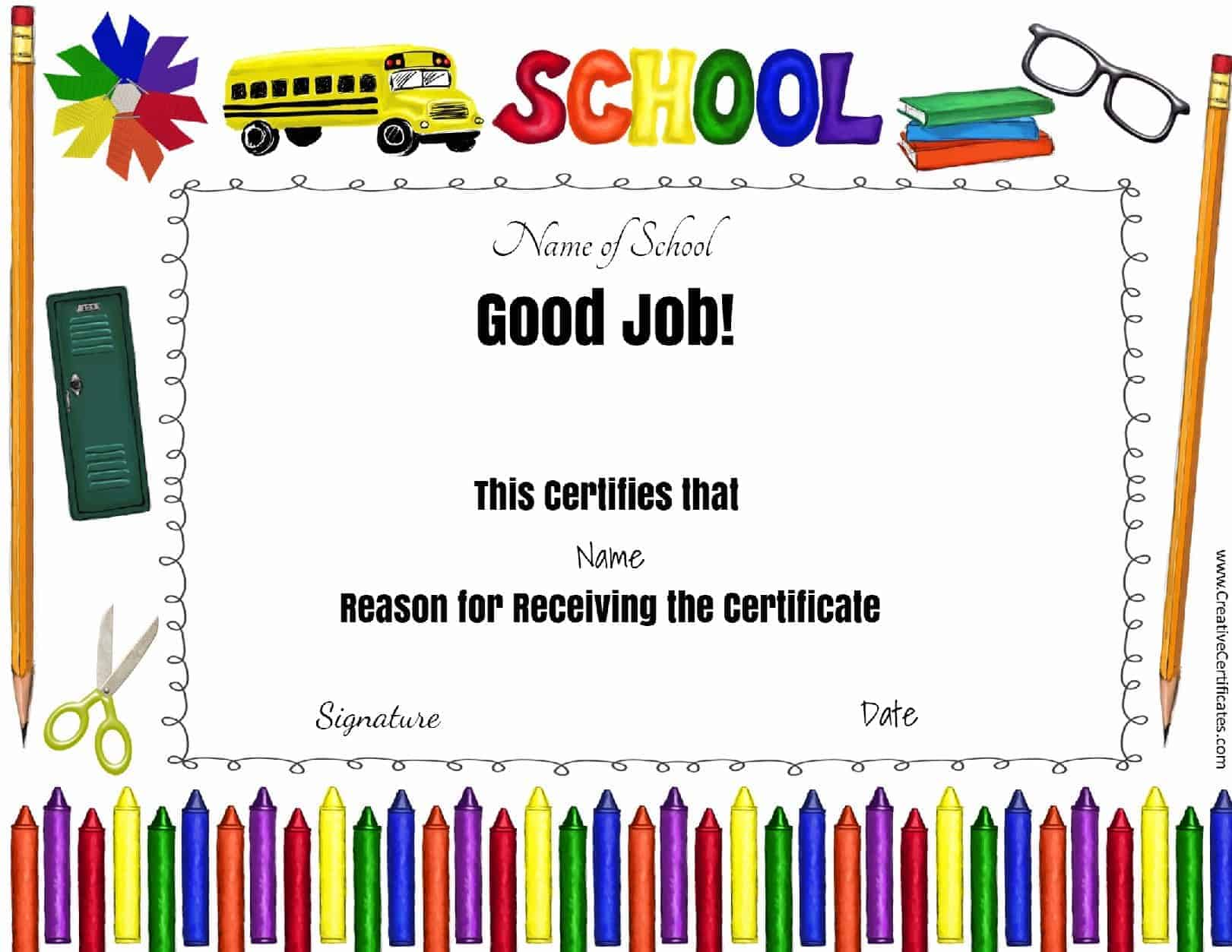 Free school certificates awards good job award xflitez Choice Image