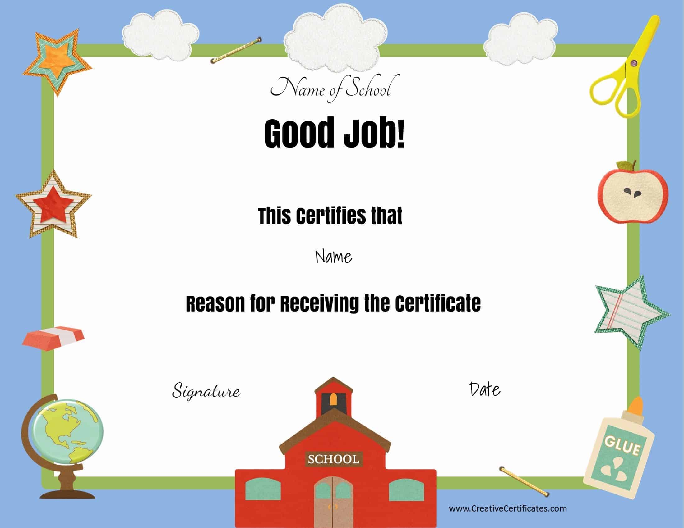 Free school certificates awards good job xflitez Choice Image