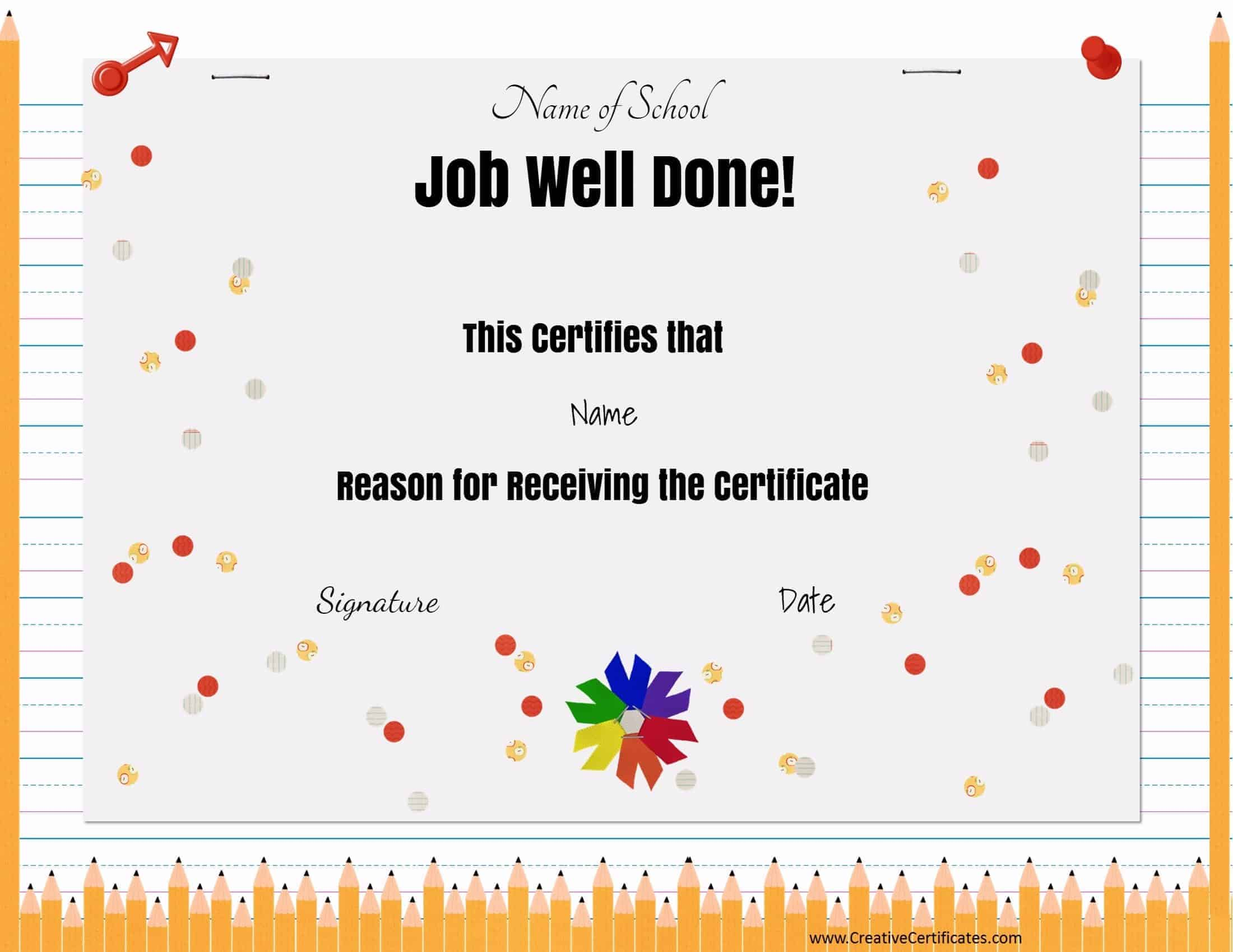 Free school certificates awards job well done xflitez Choice Image