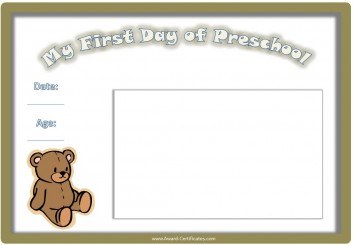 Photo Album for first day of preschool
