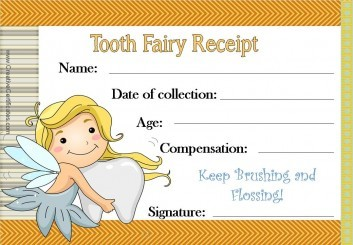 Tooth Fairy Certificate with an orange border and an image of the tooth fairy