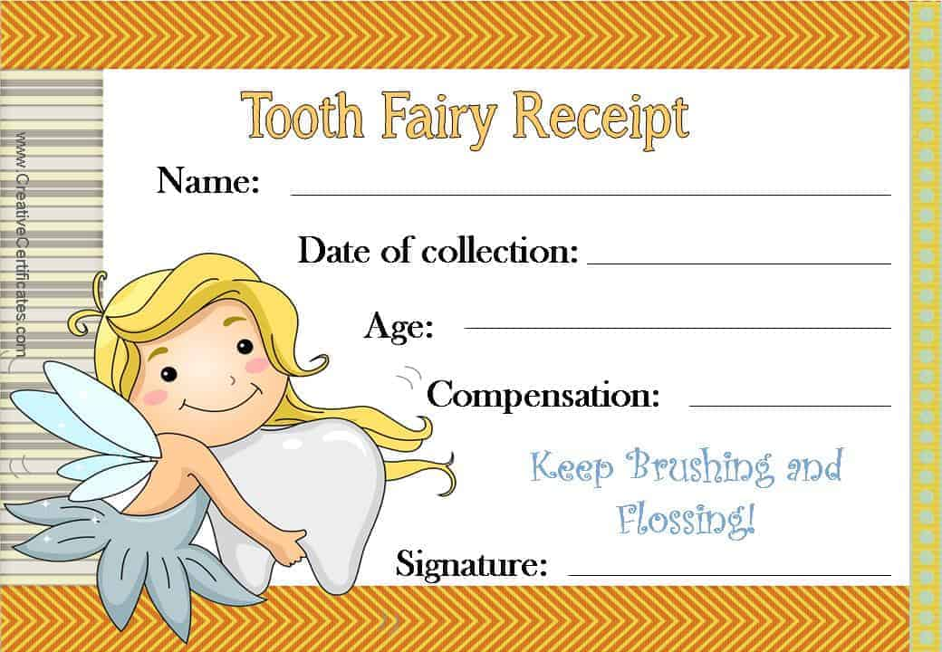 Free tooth fairy certificate tooth fairy certificate with an orange border and an image of the tooth fairy spiritdancerdesigns Choice Image