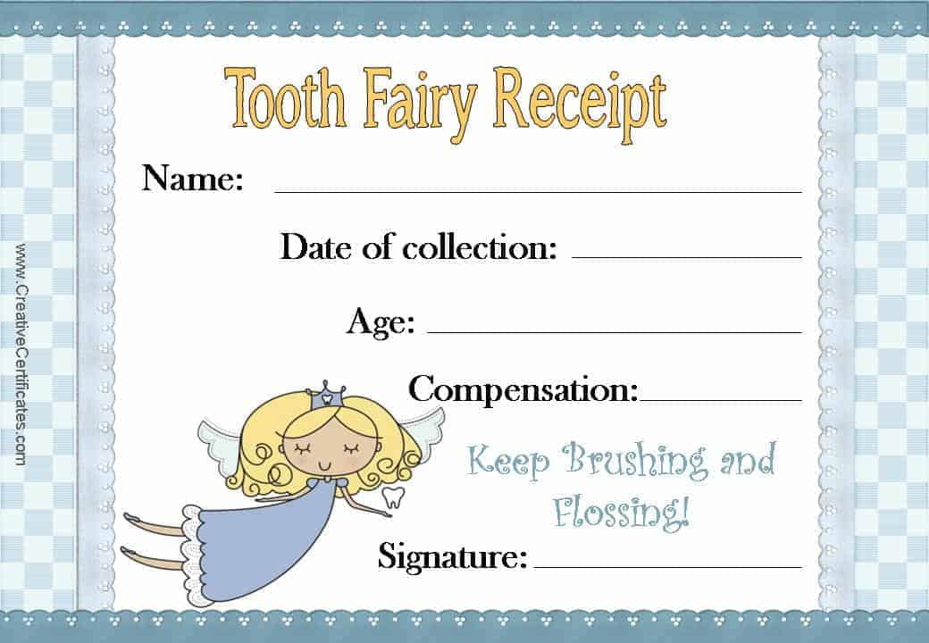 photograph relating to Free Printable Tooth Fairy Receipt titled No cost Teeth Fairy Certification Customise On the web Instantaneous