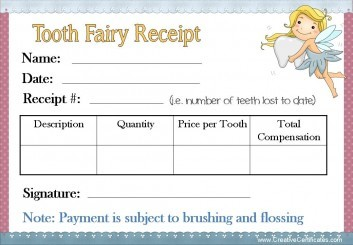 Tooth Fairy Receipt with a blue border and a picture of the tooth fairy holding a tooth