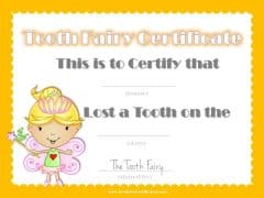 Tooth fairy letter to certify that child lost a tooth