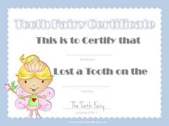 Tooth fairy certificate with blue border and picture of the tooth fairy