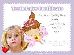 Personalized tooth fairy certificate