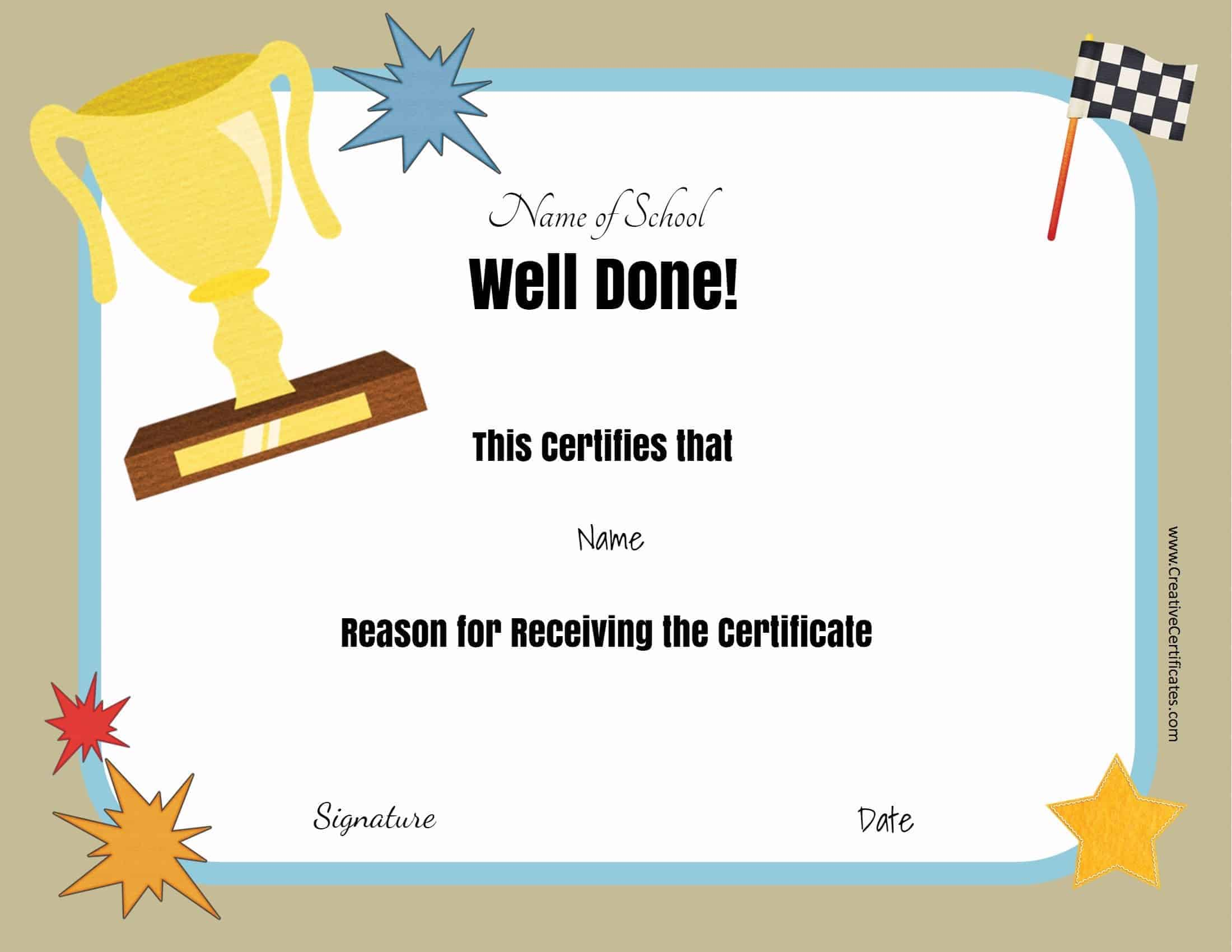 Free school certificates awards well done customize print school award certificates yadclub