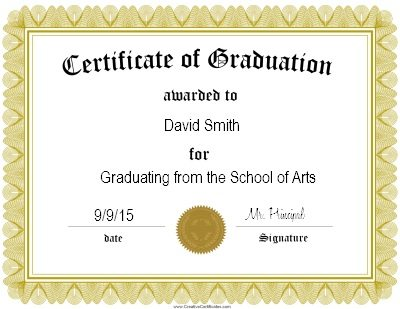 Gold Certificate of graduation certificate