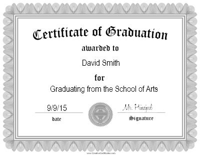 Customized Graduation Certificate