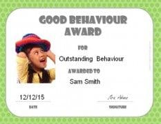 Good behaviour award certificate