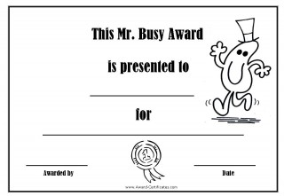 Free award certificate with a picture of Mr Busy to colour in
