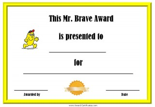 award for bravery with a picture of Mr Brave