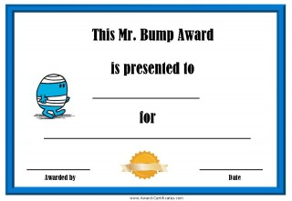 Clumsy award with a blue border and a picture of Mr Bump