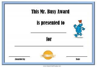 Free award certificate with a picture of Mr Busy