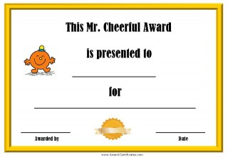 certificate for being cheerful with a picture of Mr Cheerful