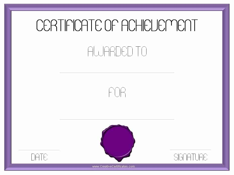 Free customizable certificate of achievement customize print achievement template certificate pronofoot35fo Images