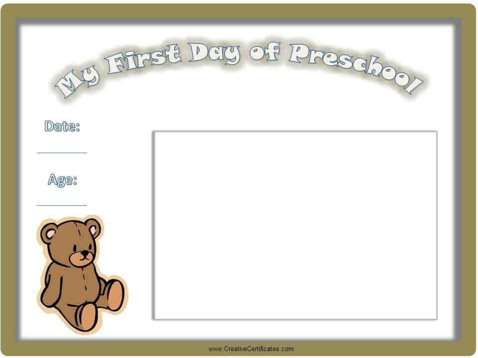 Certificate for First Day of School, Kindergarten or Preschool