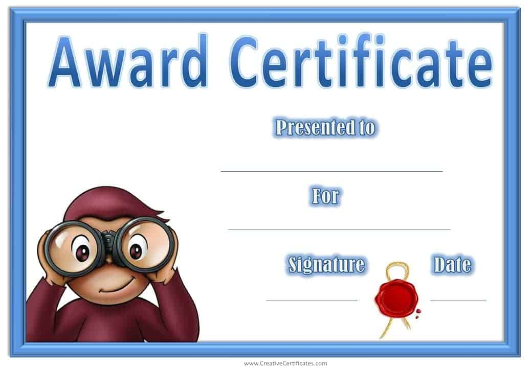 Award Certificates With Curious George