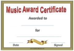 music award certificate with gold border, gold ribbon and red text