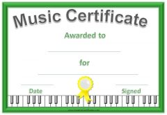 free printable certificate with a green border, a yellow ribbon and piano keys