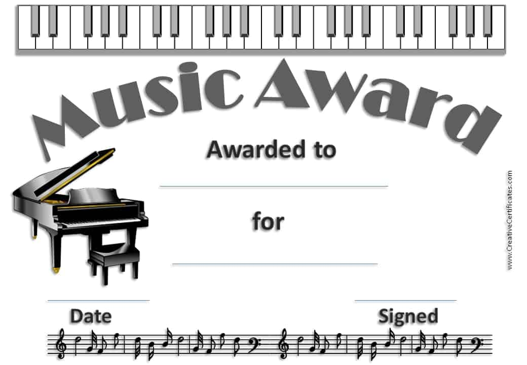 Music certificate template free and customizable certificate with picture of a piano yadclub Choice Image