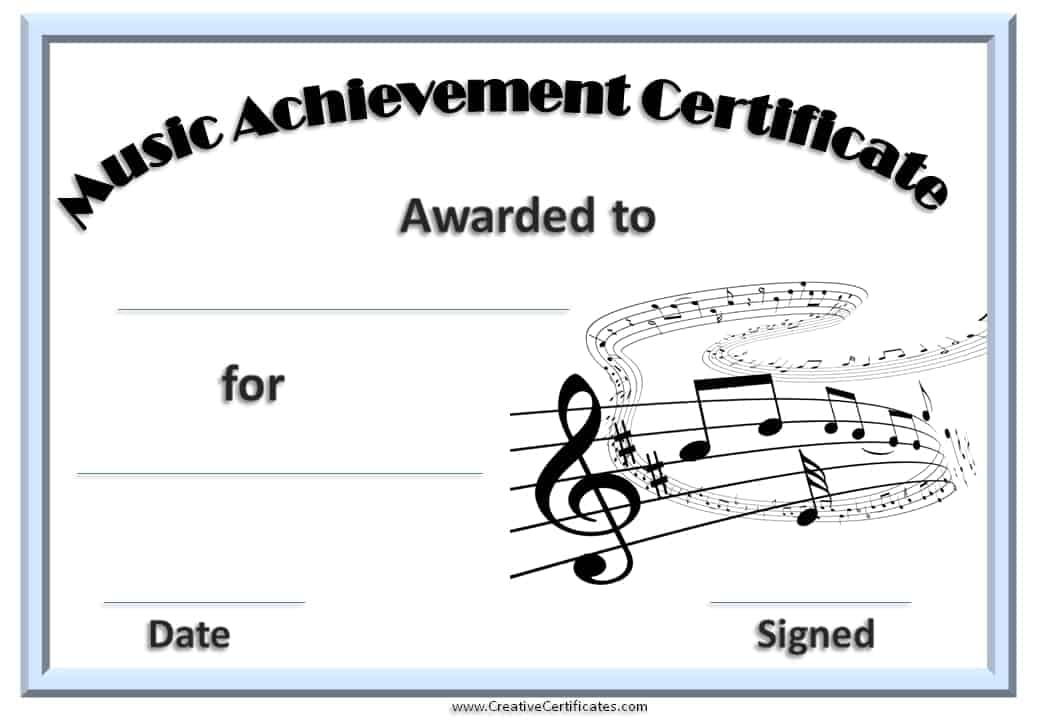 Music certificate template free and customizable music certificate template yelopaper Images