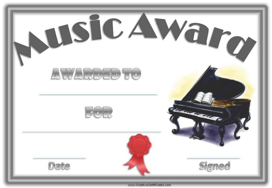 Music certificate template free and customizable music award with an image of a piano a double grey border and a red yelopaper Images