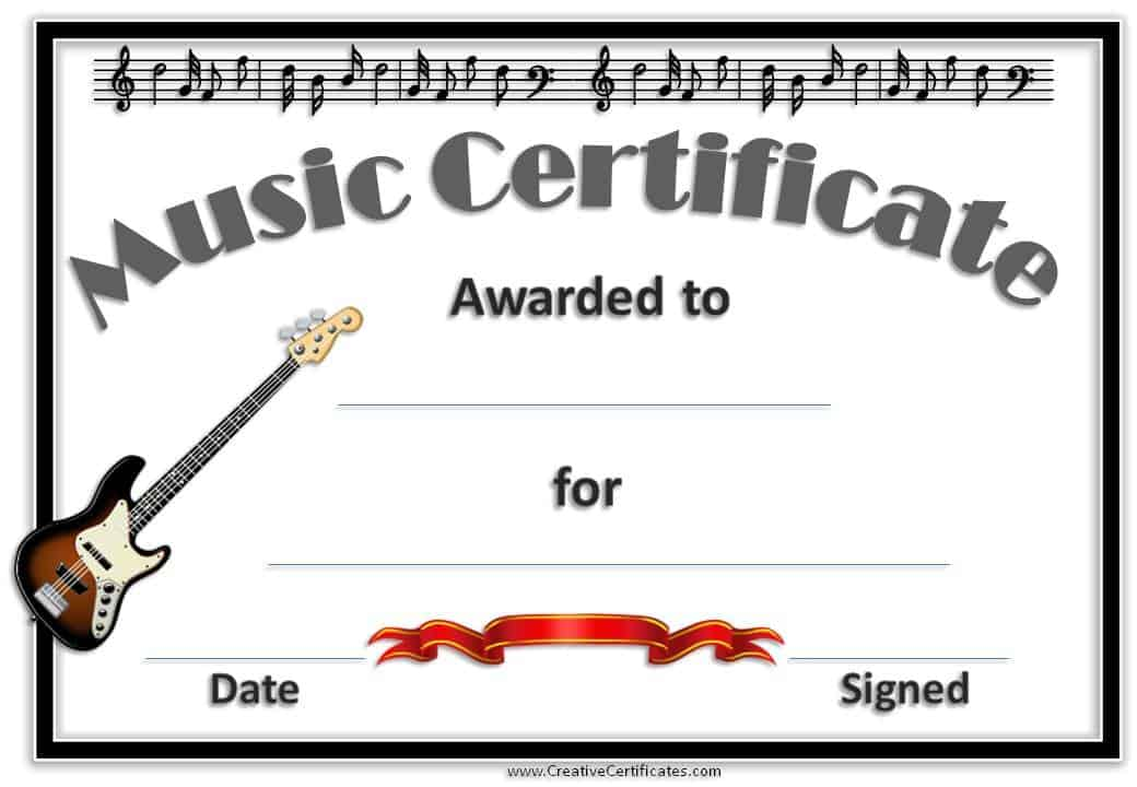 Music certificate template free and customizable free music award with an electrical guitar and a black border yadclub Choice Image
