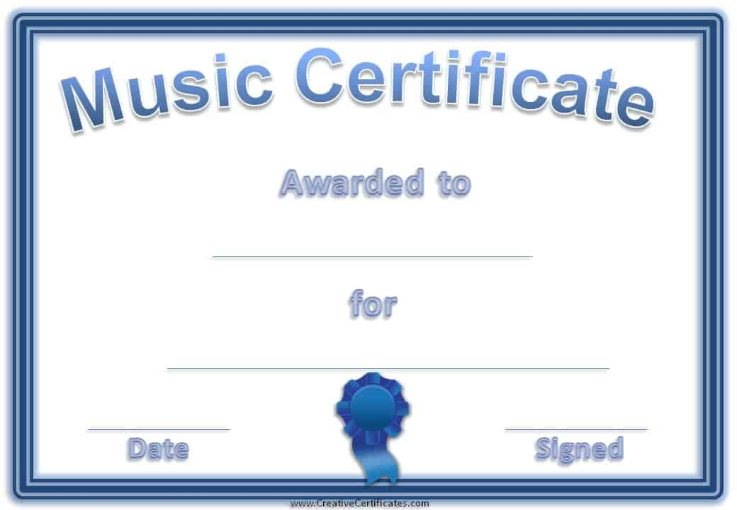 free editable music certificate template