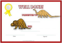 dinosaur certificate