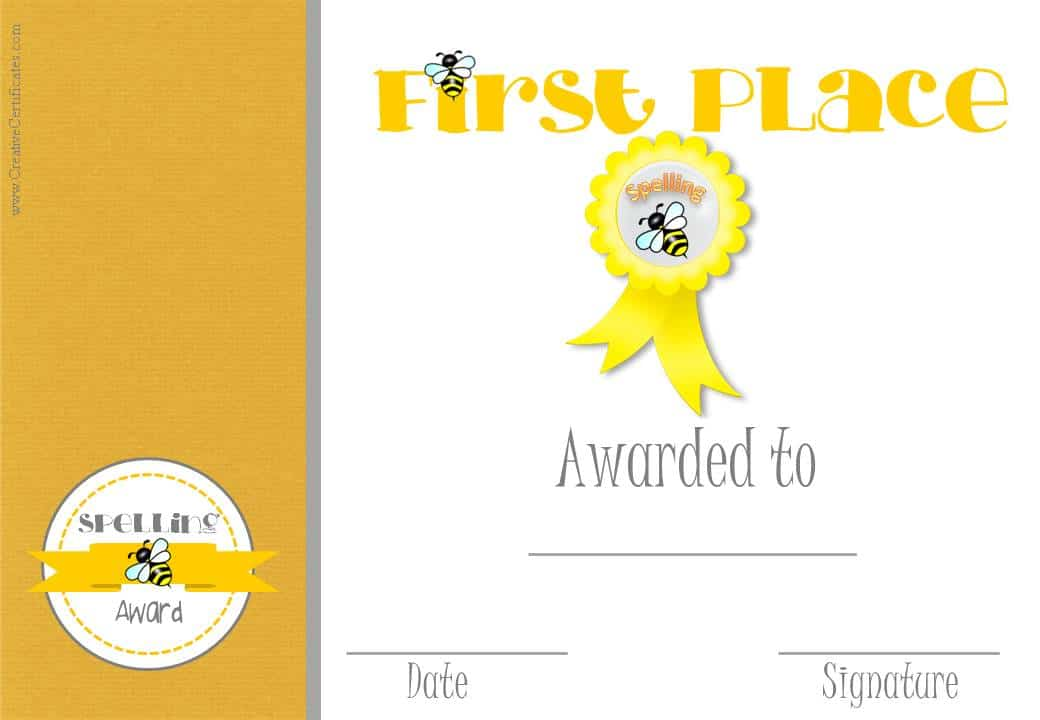 Free Spelling Bee Certificate Templates Customize Online – First Place Award Certificate