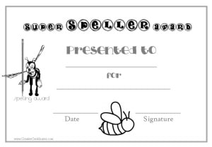 spelling award certificate - black and white version