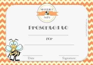 Certificate for spelling bee