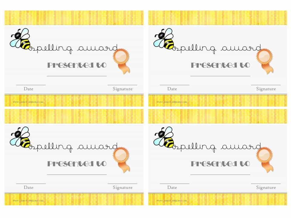 Free spelling bee certificate templates customize online 4 certificates per page yelopaper Images