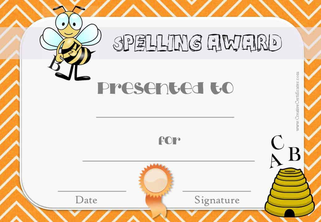 Free spelling bee certificate templates customize online certificate for teachers to use in their classroom yadclub Images