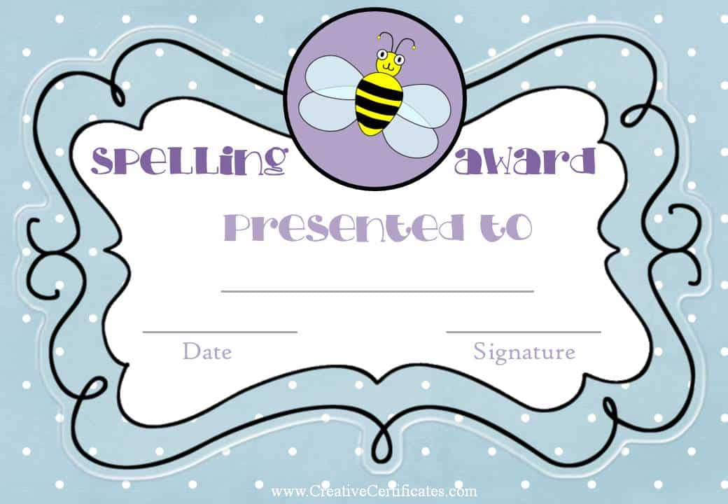 Free spelling bee certificate templates customize online spelling award yadclub Image collections