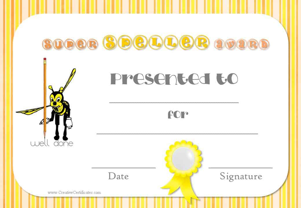 Free spelling bee certificate templates customize online teacher resources printable award certificates yadclub Gallery