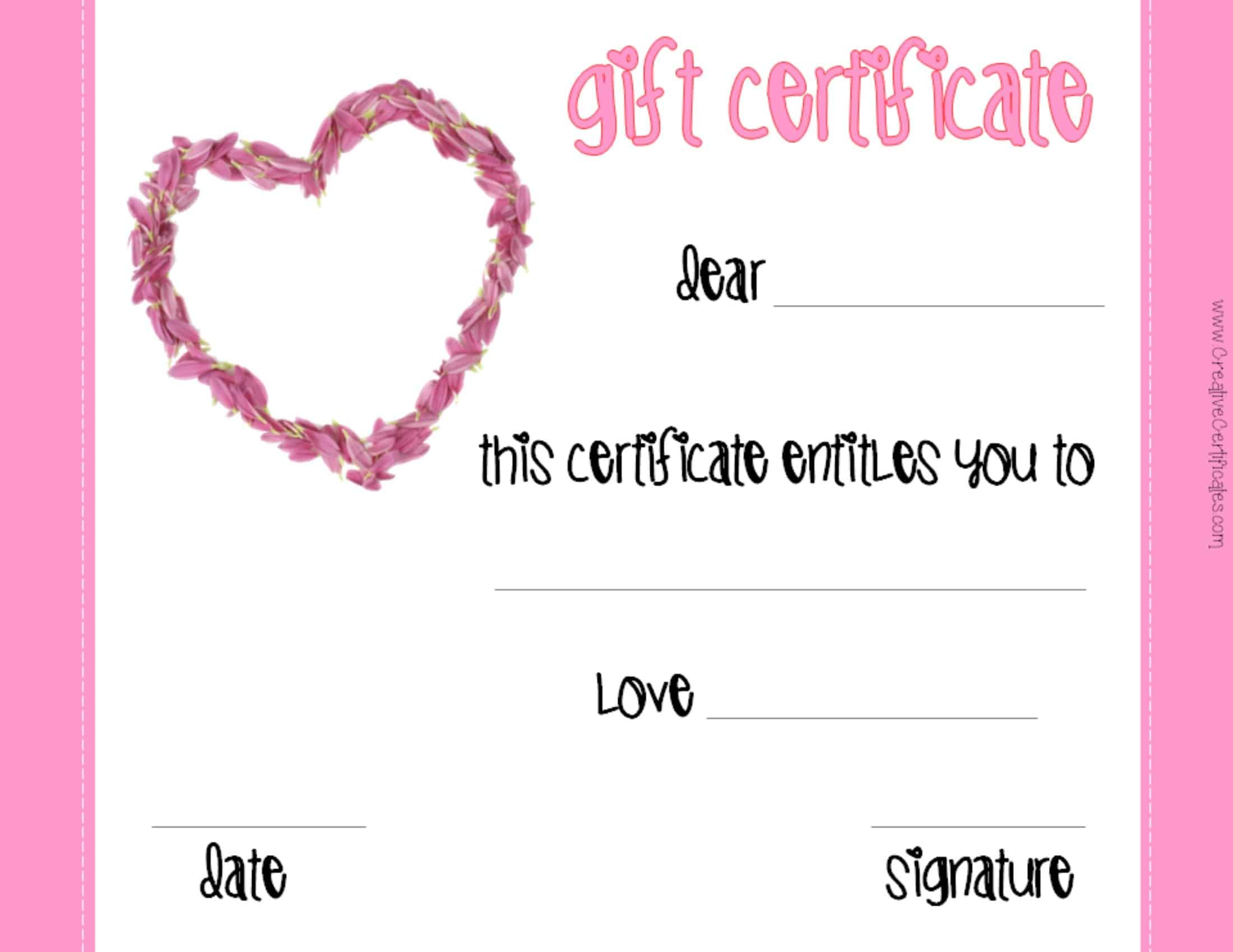 valentine 39 s gift certificates. Black Bedroom Furniture Sets. Home Design Ideas