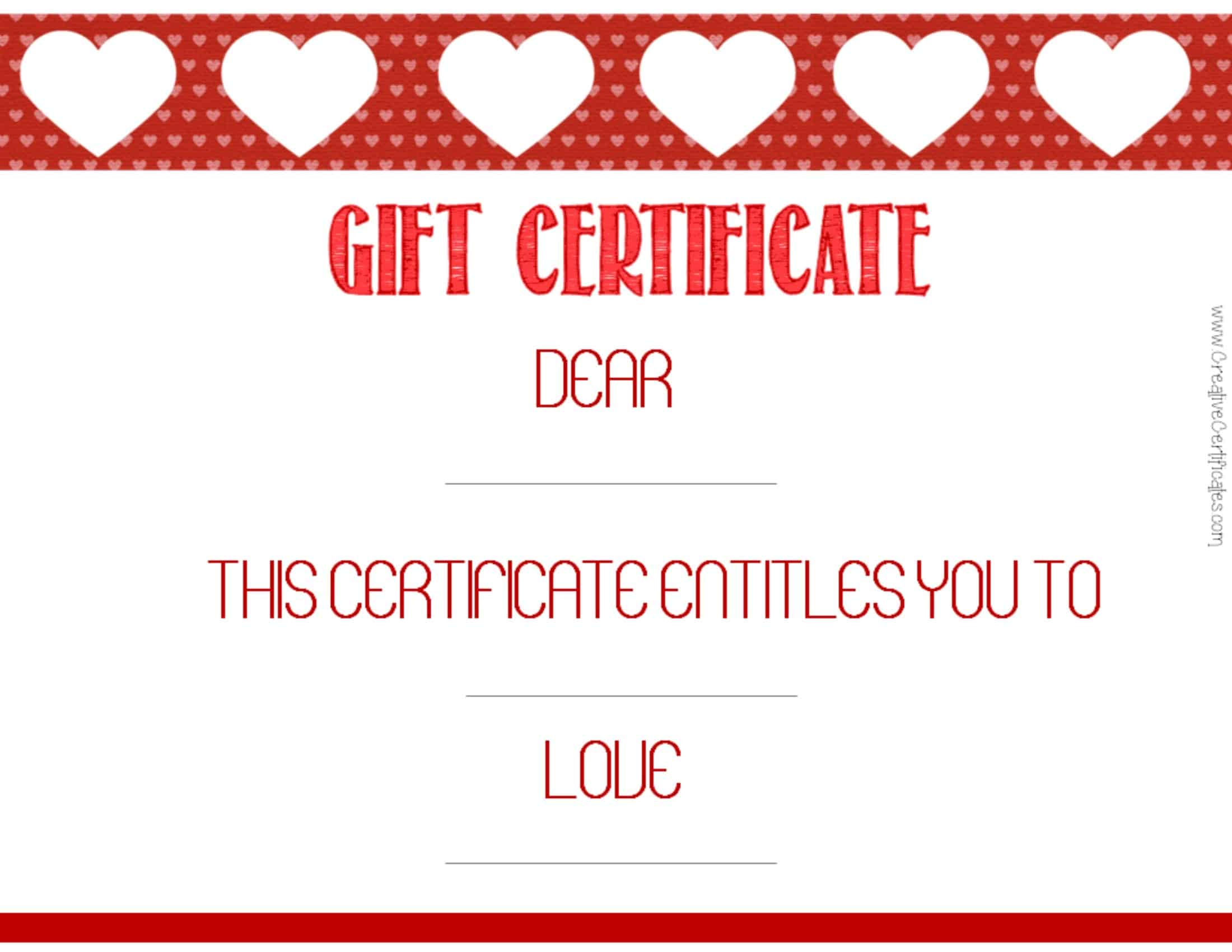 Wording: Gift Certificate U2013 Dear _ This Certificate Entitles You To _ Love  _ .  Gift Certificate Wording