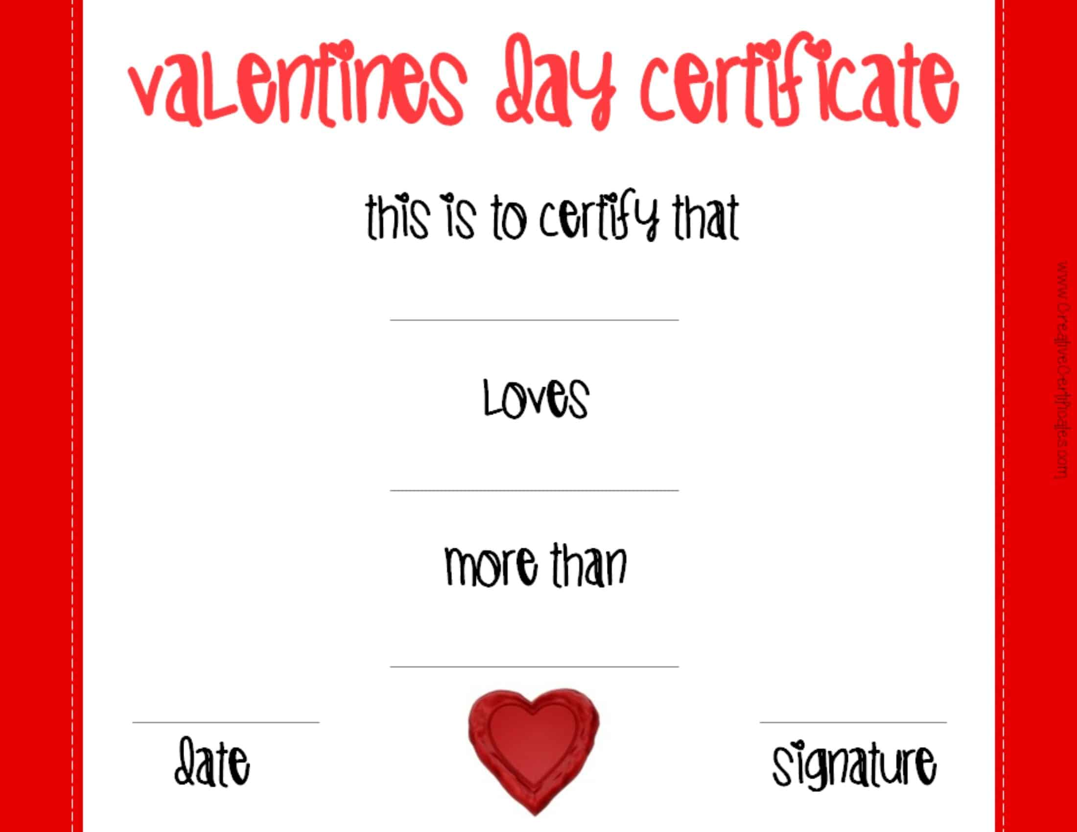 Valentines day certificates valentines day greeting card alramifo Choice Image