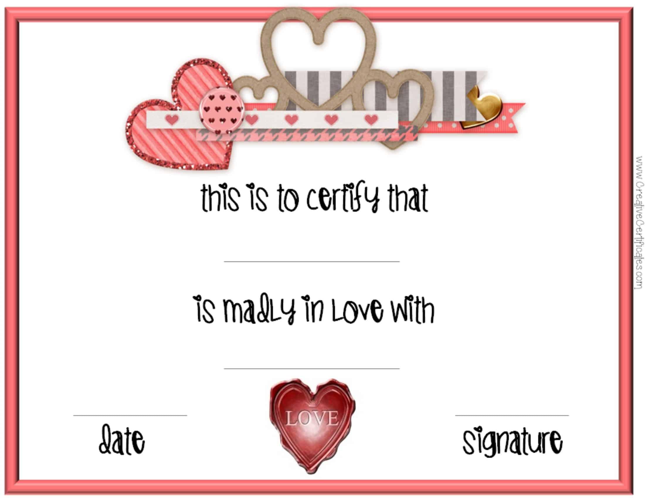 Valentine's Day Certificates