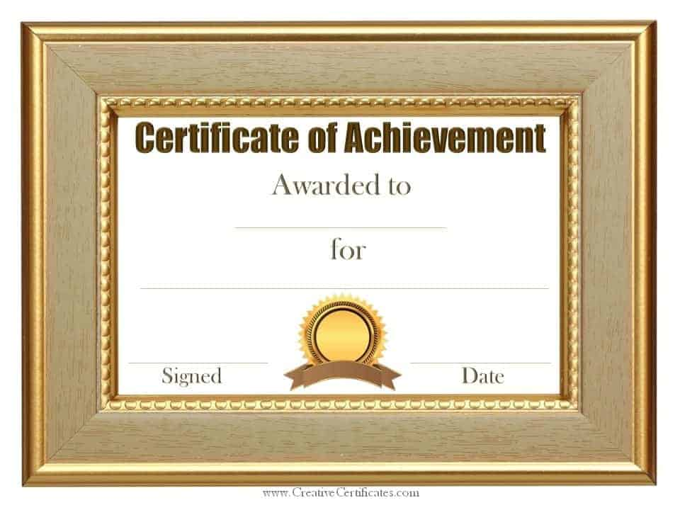 Customized Sample Achievement Certificate Template  Free Achievement Certificates
