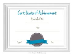 sample achievement certificate template